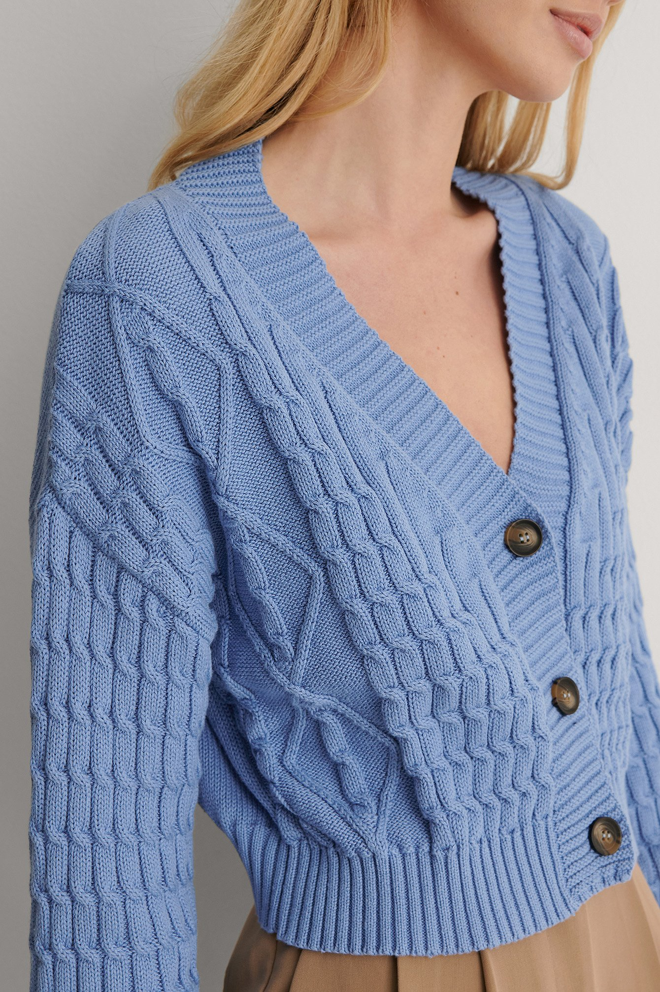 Blue Organic Cable Knitted Cardigan