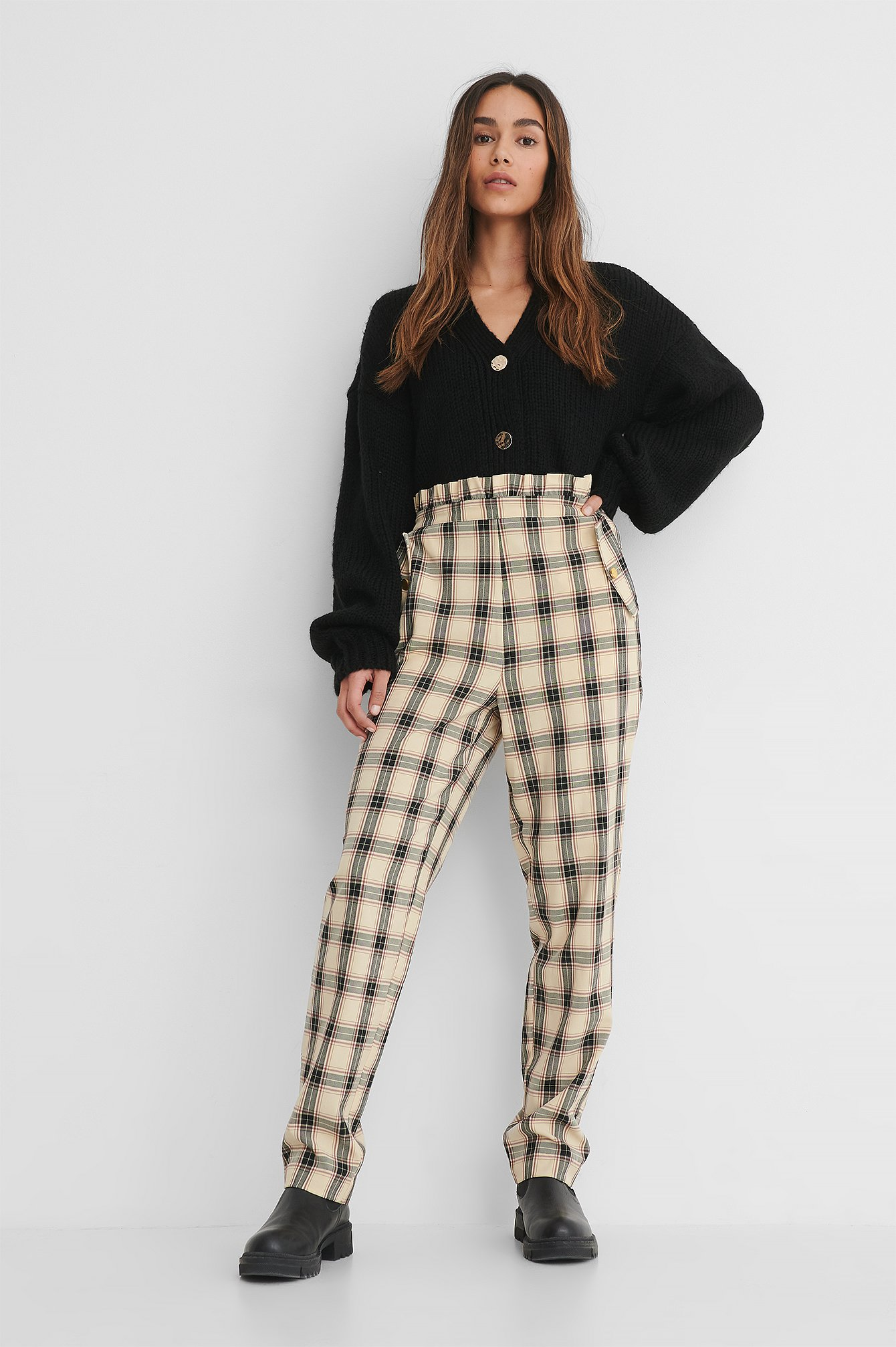 Checked Checked Frill Detail Pants