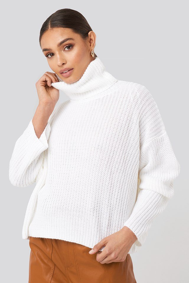 Oversized High Neck Knitted Sweater Offwhite