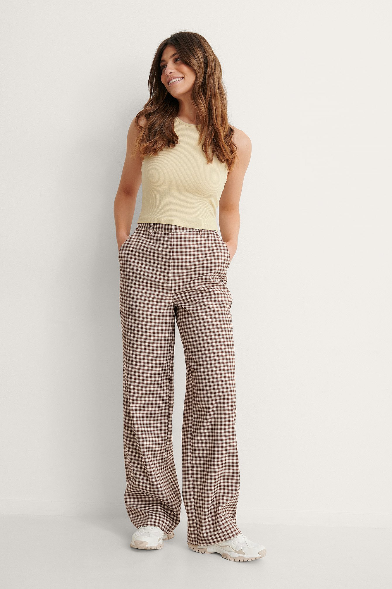 Brown Check Geruite Pantalon