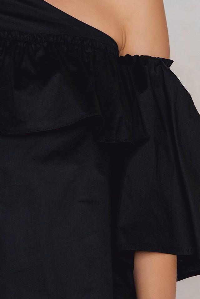 Adeline One Shoulder Ruffle Top Black