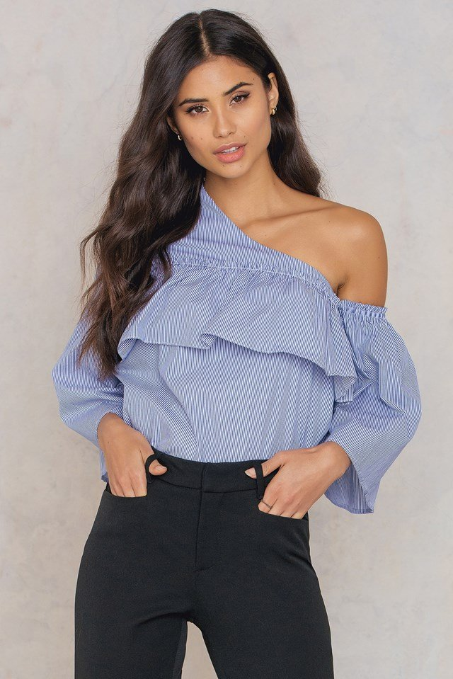 Adeline One Shoulder Ruffle Top Blue/White Stripe