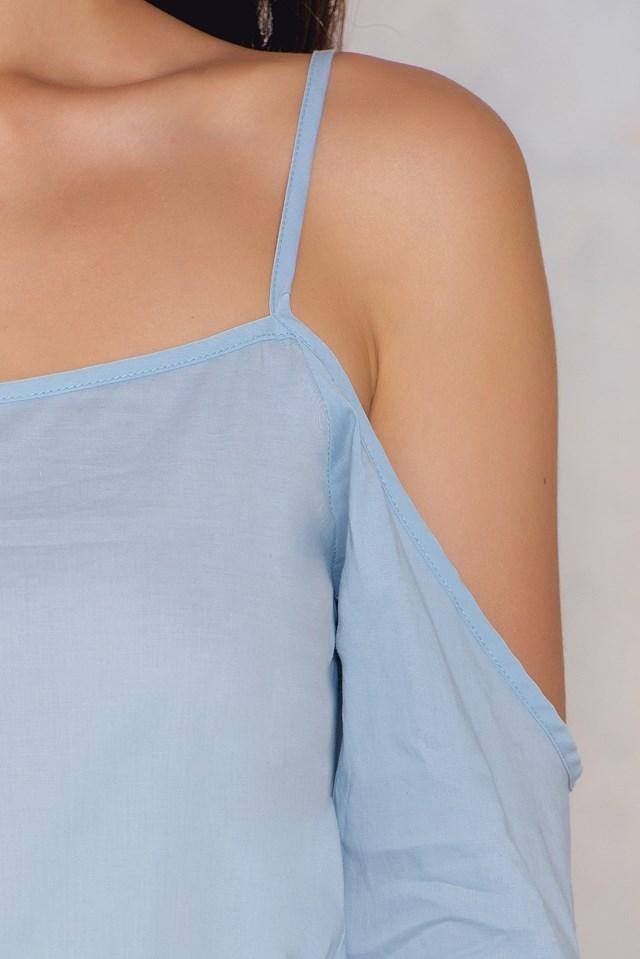 Camilla Cold Shoulder Tie Sleeve Top Light Blue