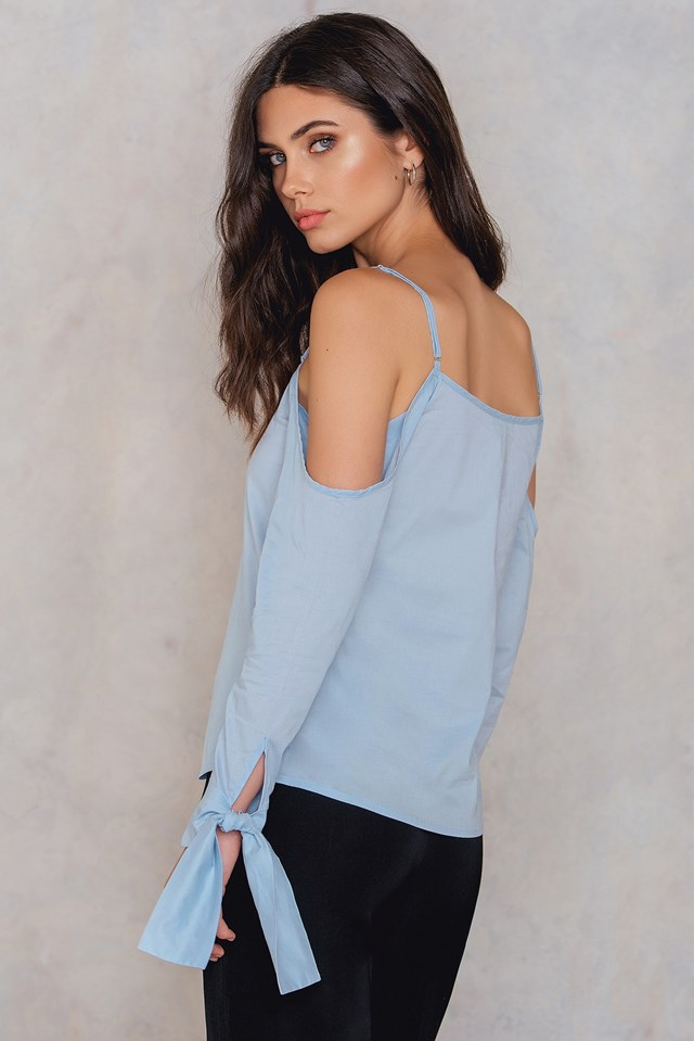 Camilla Cold Shoulder Tie Sleeve Top Light Blue