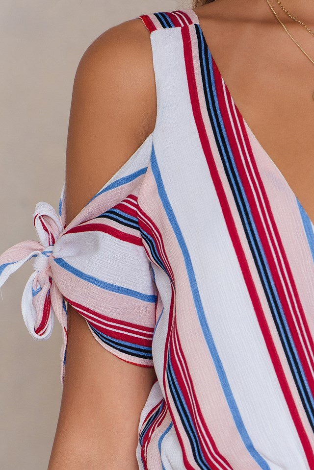 Cold Shoulder Romper Multi Stripe