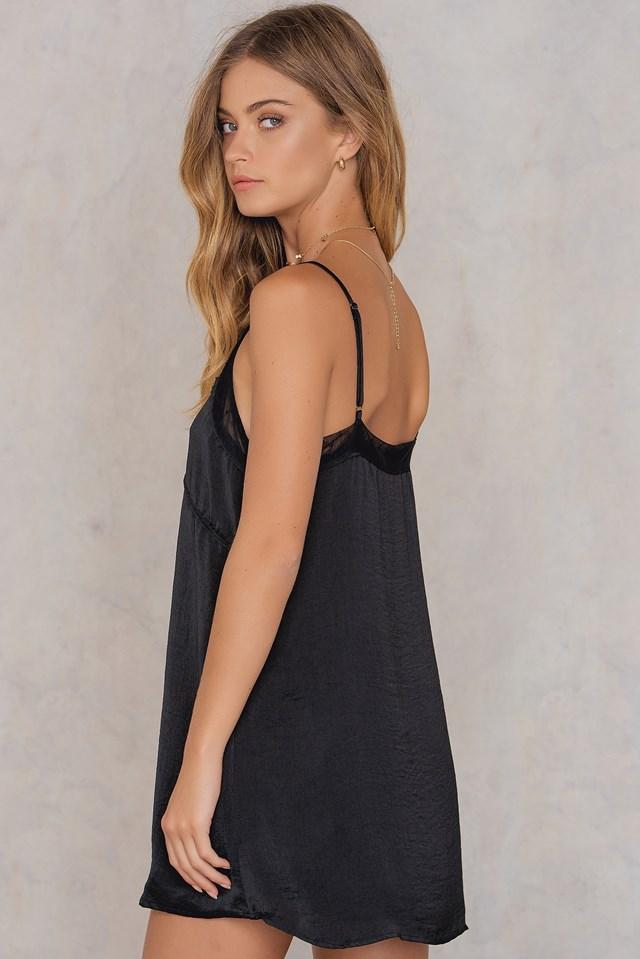 Contrast Mesh Dress Black