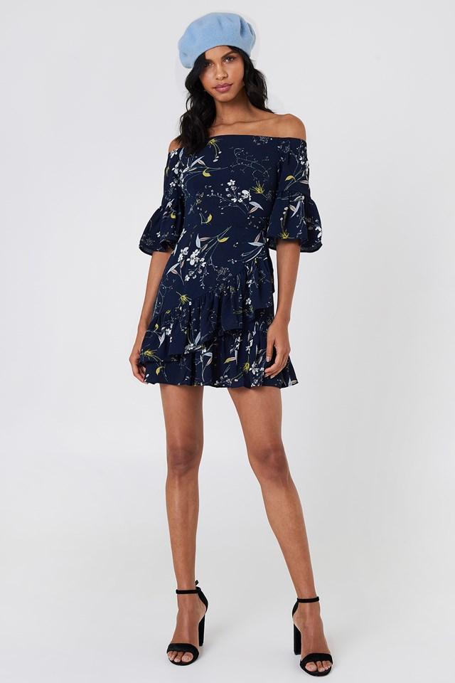 Emilia Ruffle Mini Dress Navy Floral