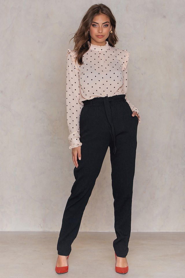 High Waisted Paper Bag Pant Black