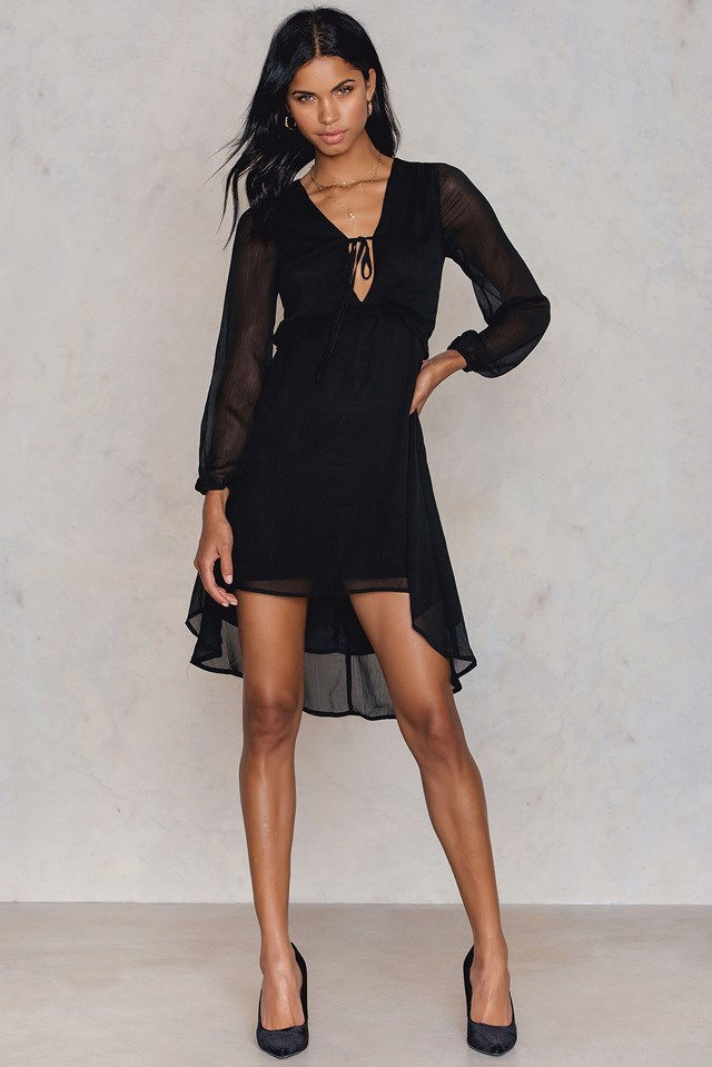 Madison High Low Dress Black