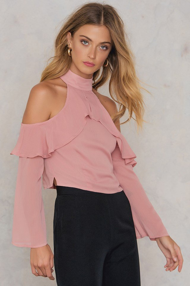 Mia Cold Shoulder Flounce Top Blush