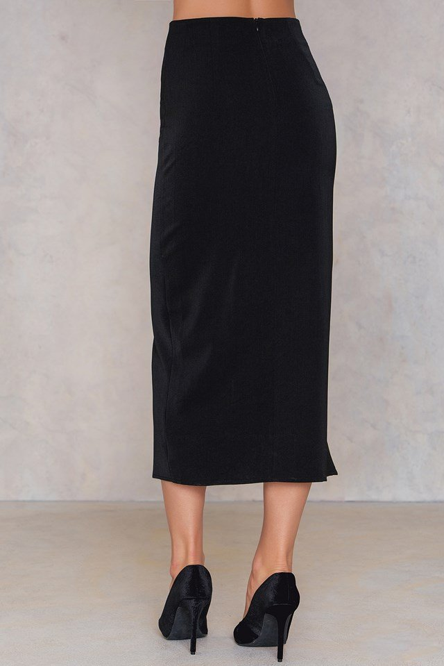 Nora Lace Up Pencil Skirt Black
