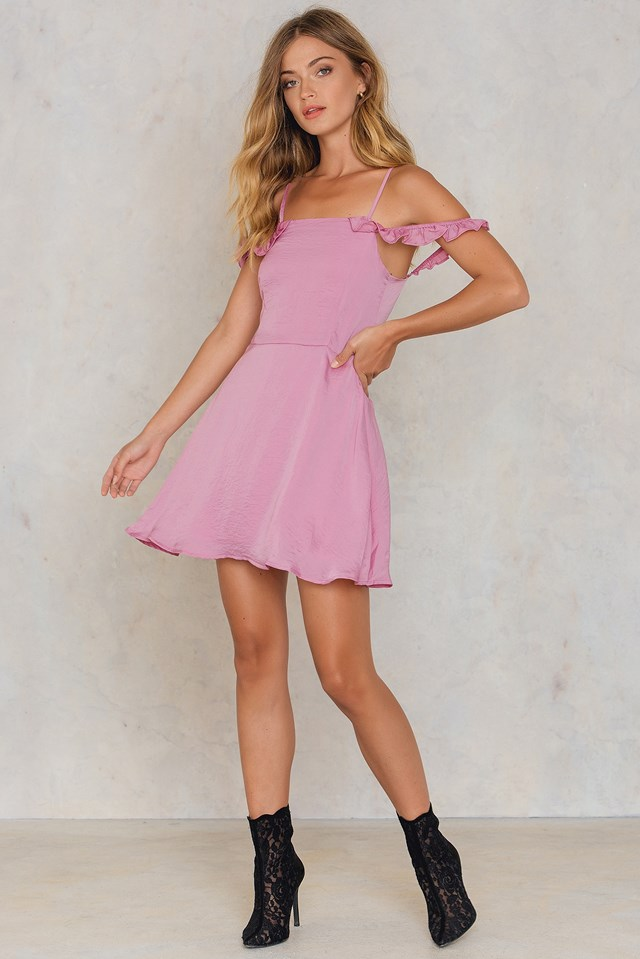 Ruffle Cold Shoulder Dress Pink