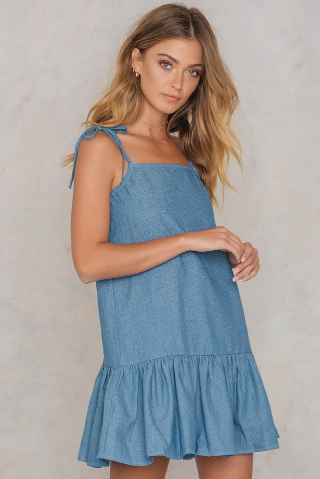 Strap Tie Dress Denim