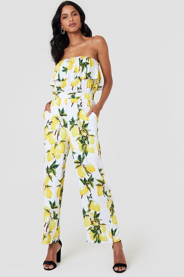Talia Overlay Jumpsuit Lemon Print