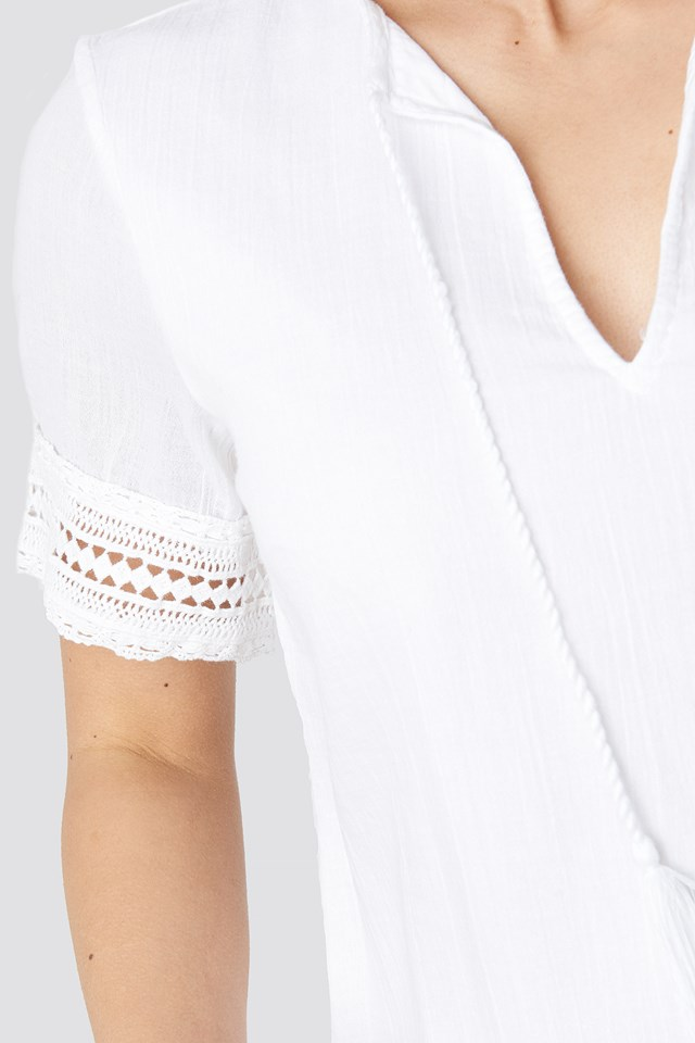 A-line Crochet Dress White