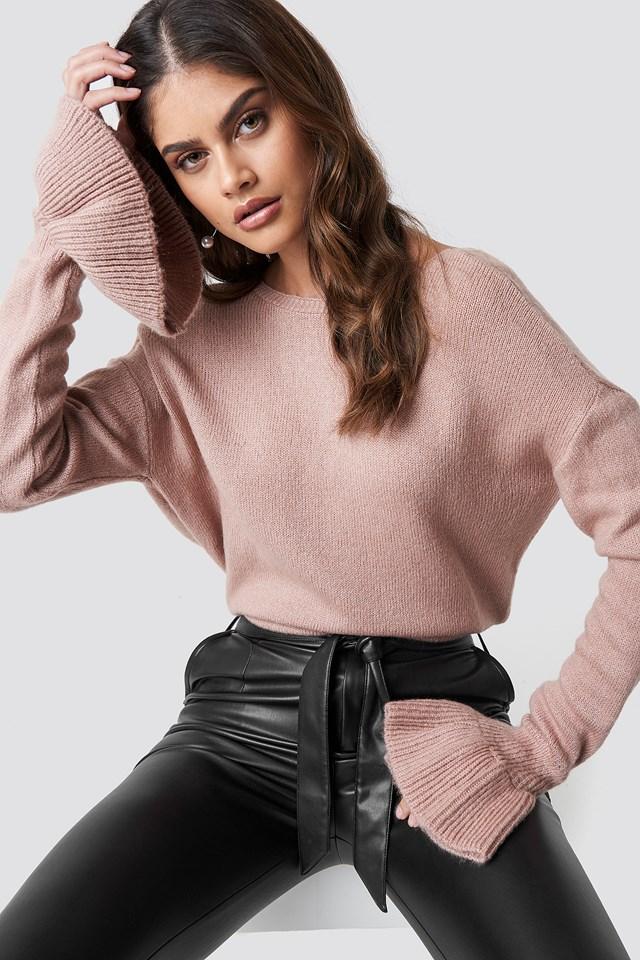 Back Overlap Sweater Blush