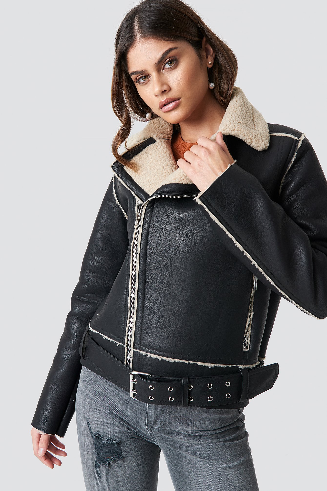 luisa lion x na-kd -  Belted Biker Jacket - Black