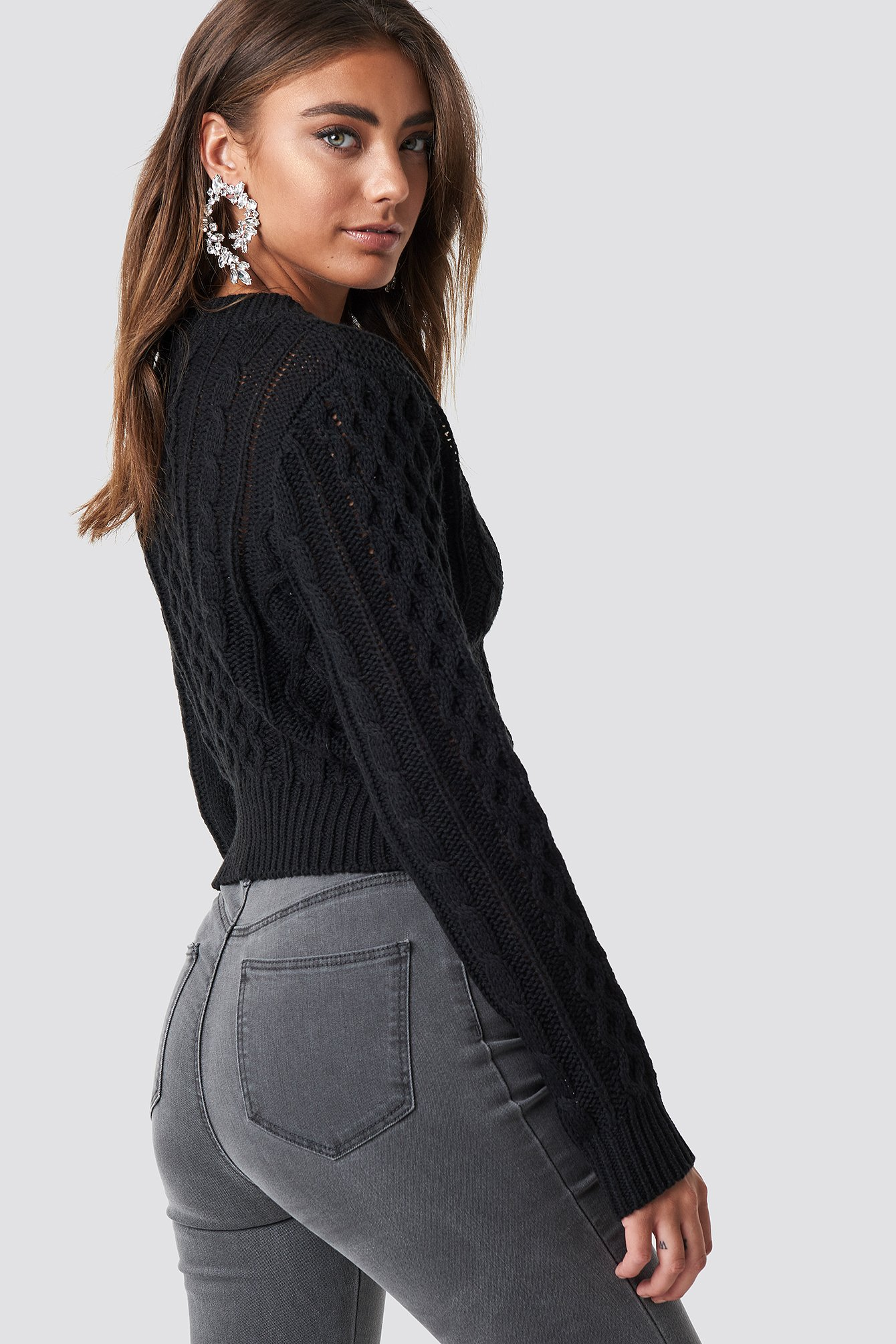 Black Cropped Cable Knit Sweater