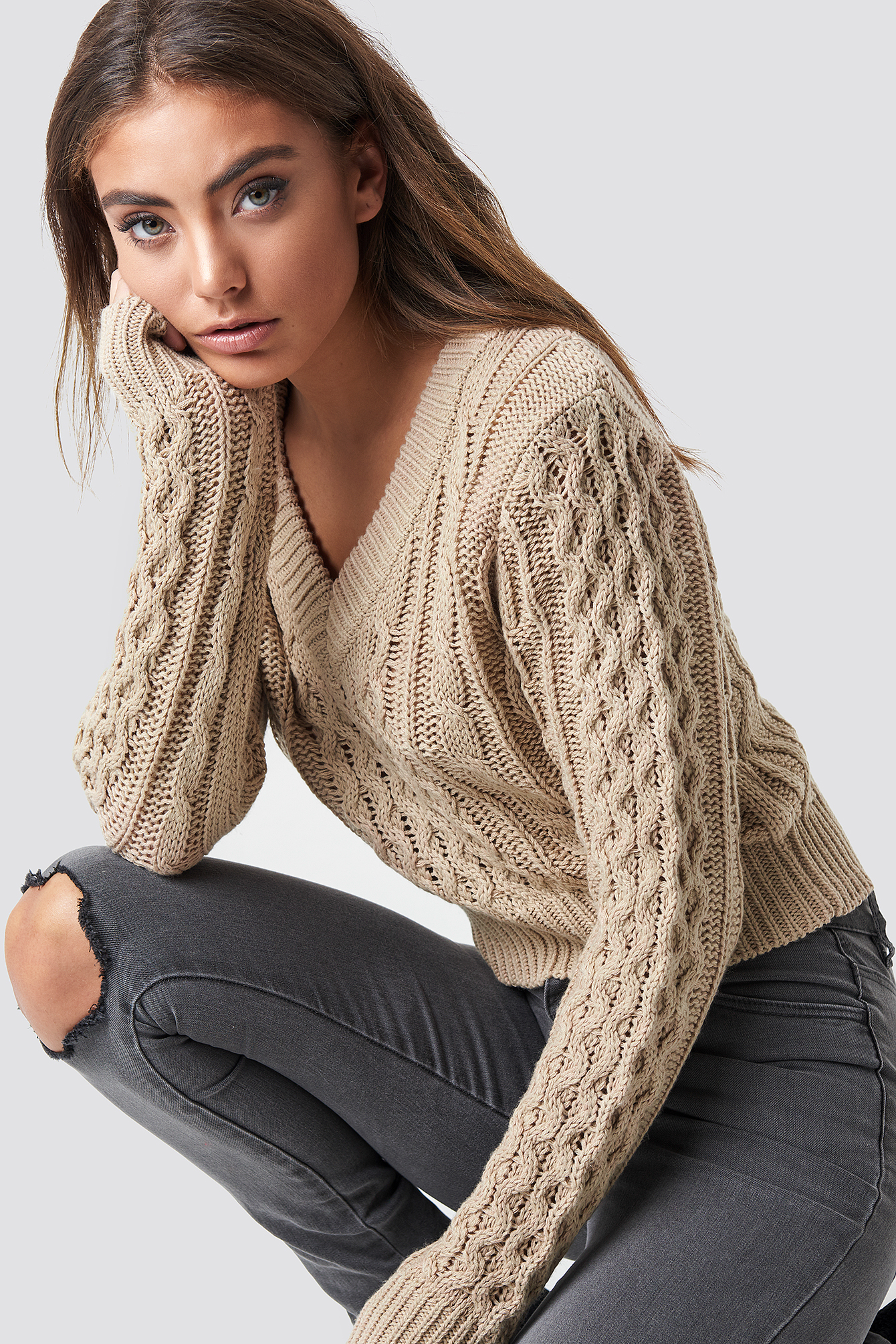 Cropped Cable Knit Sweater NA-KD.COM