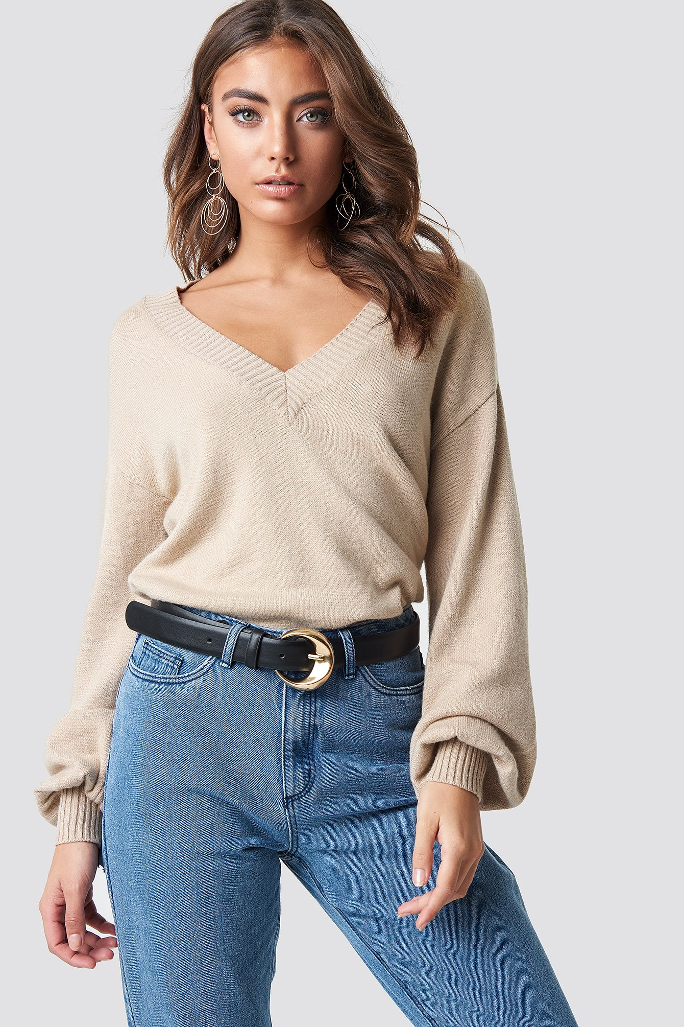 Deep V-neck Sweater NA-KD.COM
