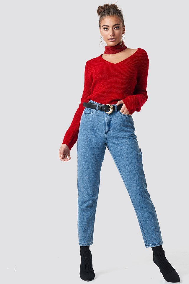 Cut-out Neckline Sweater Red
