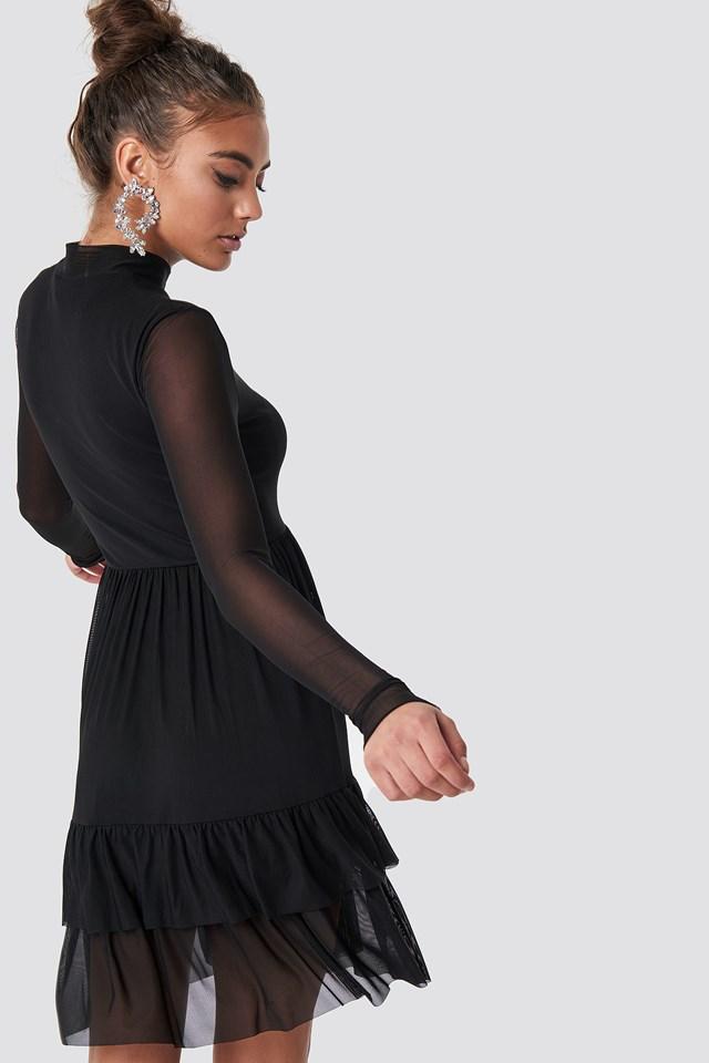 Mesh Frill Dress Black