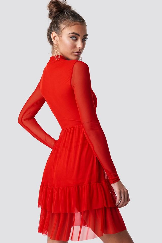 Mesh Frill Dress Red