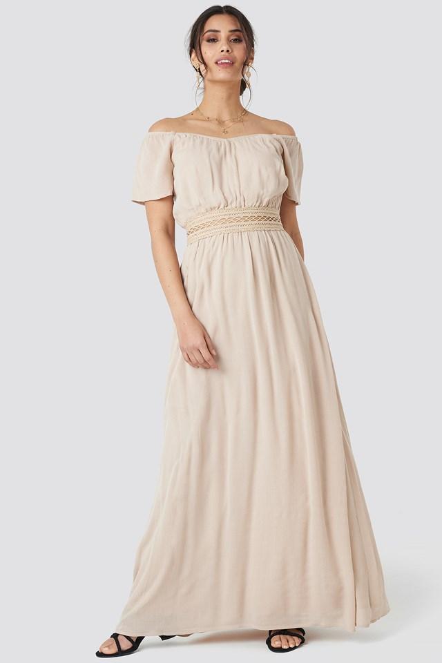 Off Shoulder Lace Dress Light Beige