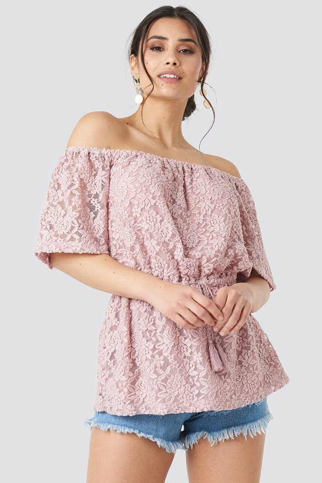 Off Shoulder Lace Top Dusty Light Pink