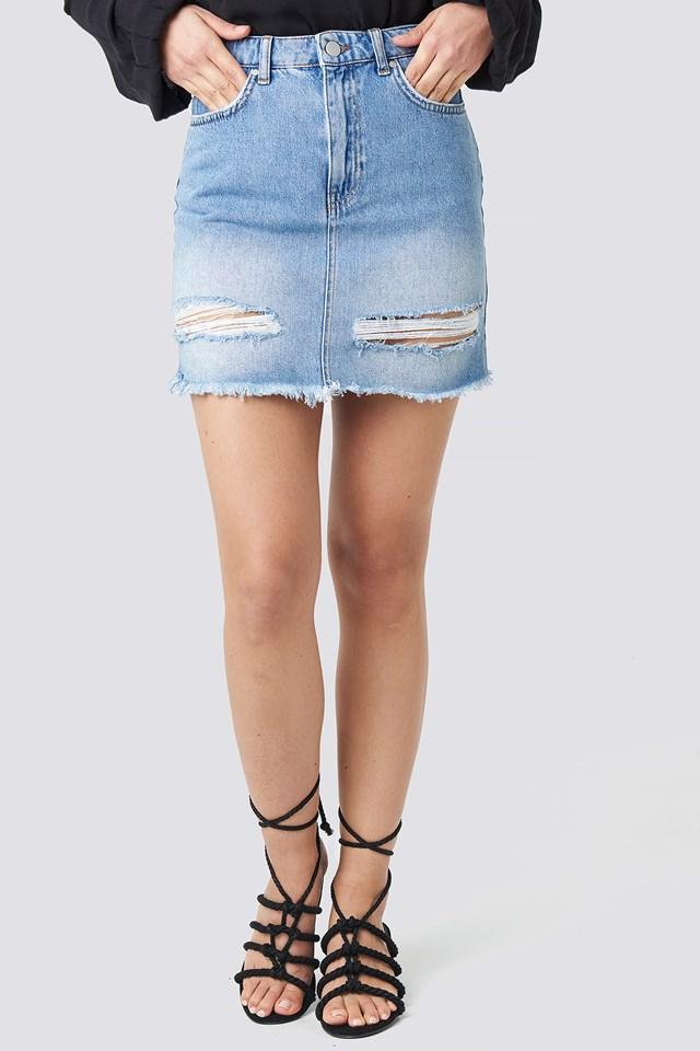 Ripped Denim Skirt Light Blue Wash