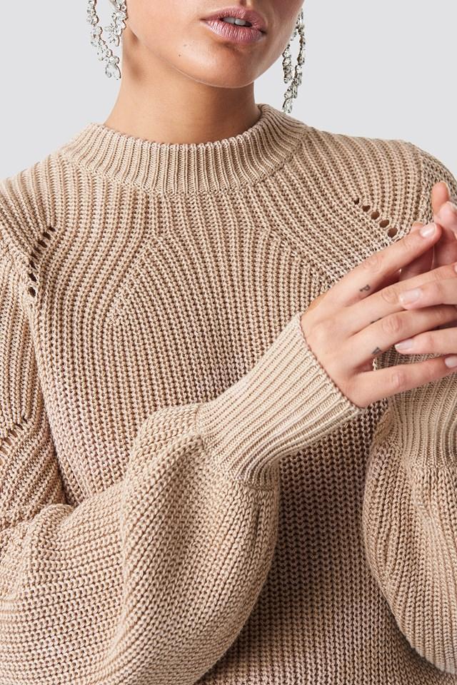 Round Neck Sweater Beige