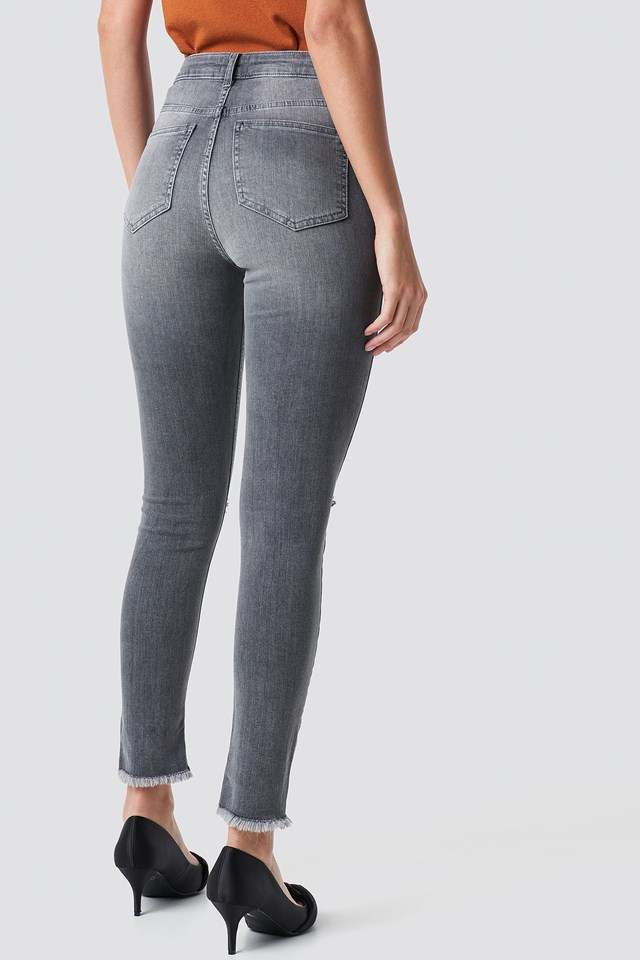 Skinny Ripped Jeans Grey
