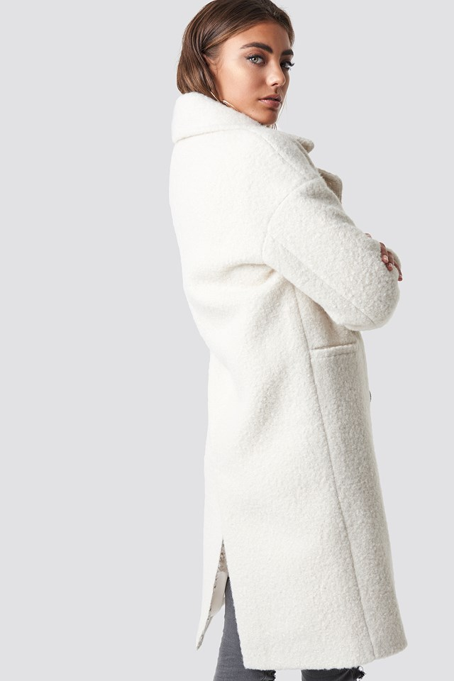 Structure Double Breasted Coat White