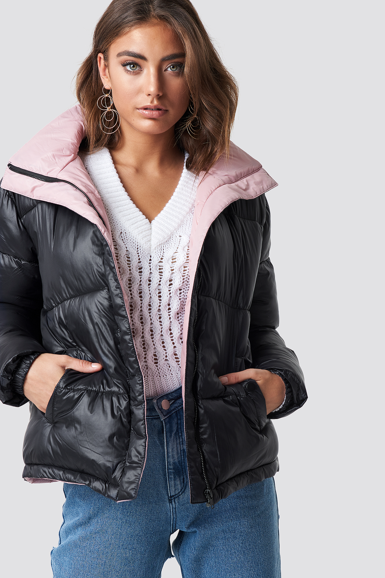 luisa lion x na-kd -  Two Toned Puffer Jacket - Black,Pink