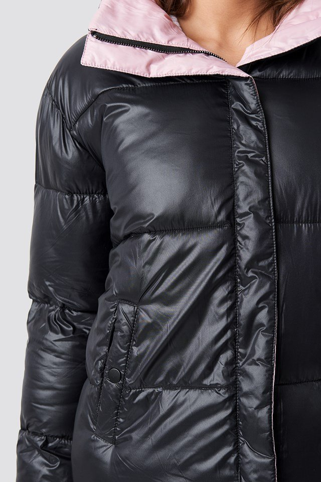 Two Toned Puffer Jacket Black/Pink