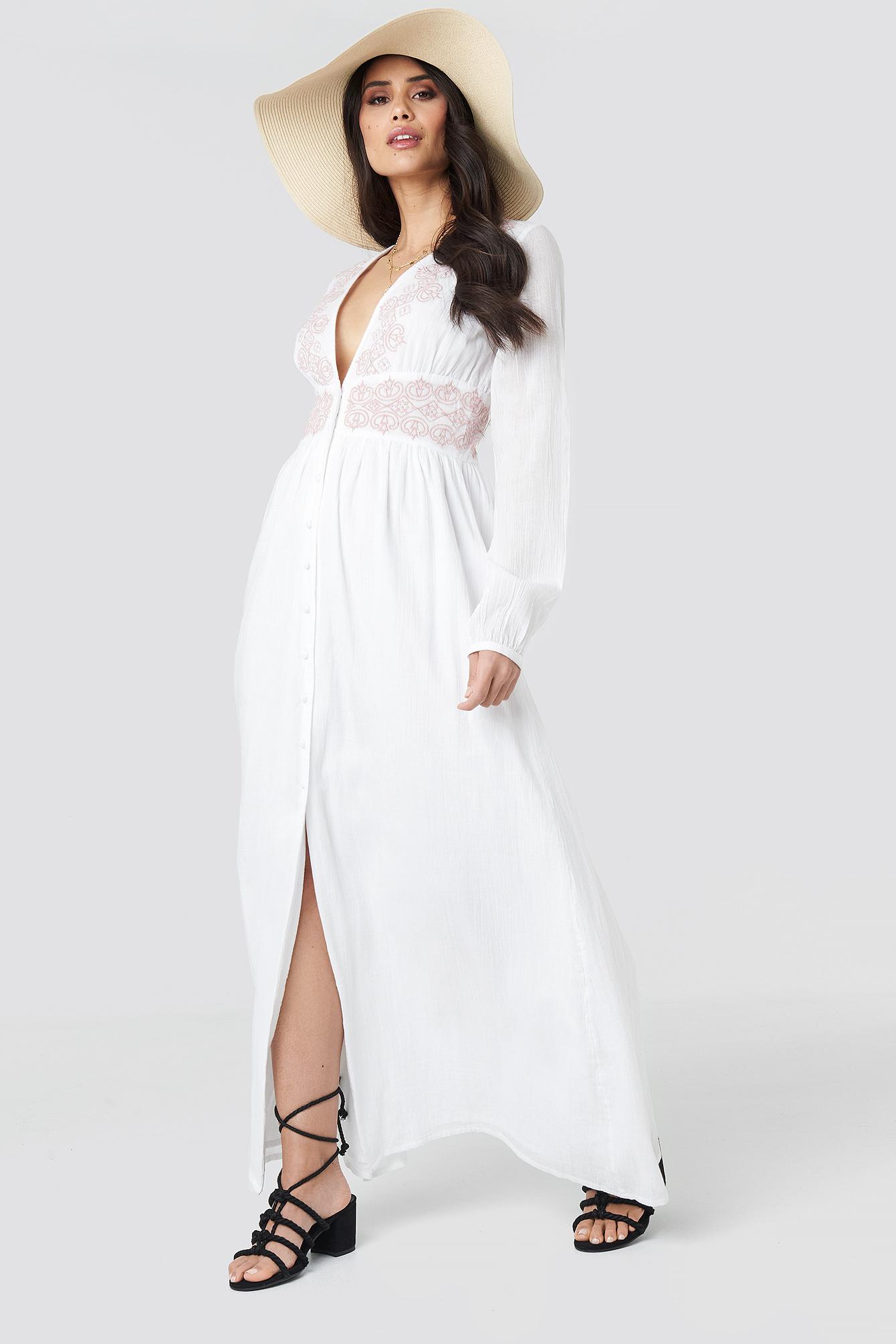 luisa lion x na-kd -  Waist Detail Button Up Dress - White