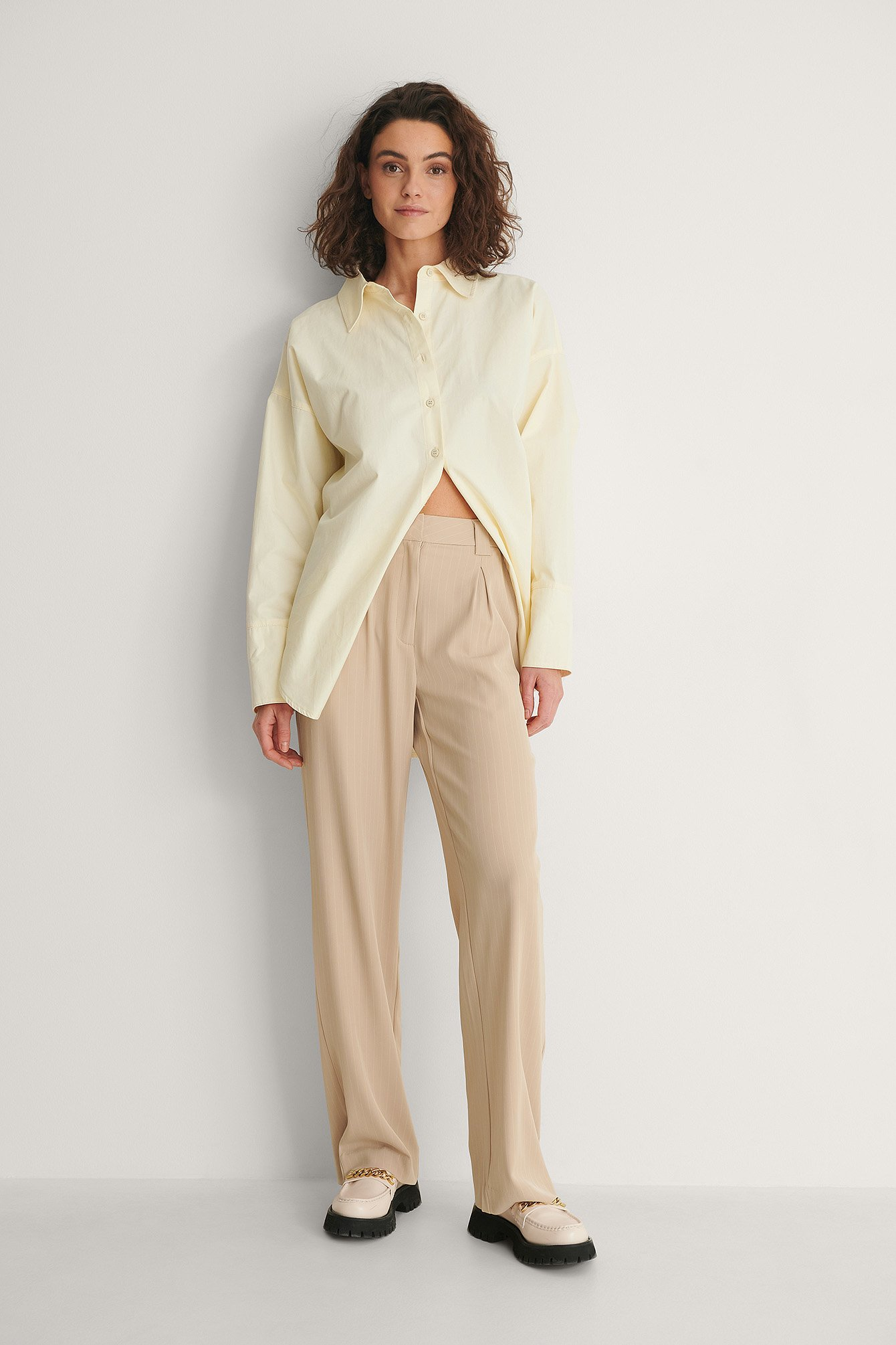 Beige Stripe Recycled Wide Leg Pinstriped Pants