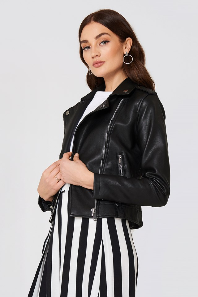 Appliqué Biker Jacket Black