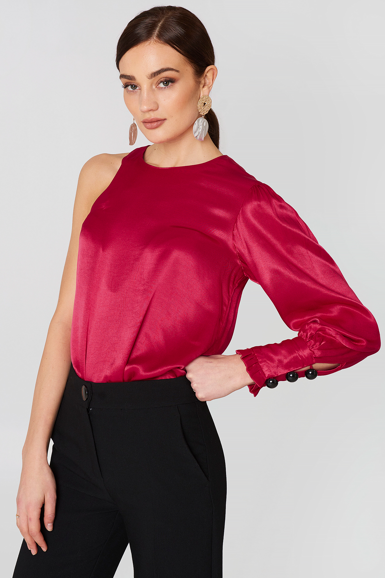Asymmetric Satin Blouse NA-KD.COM