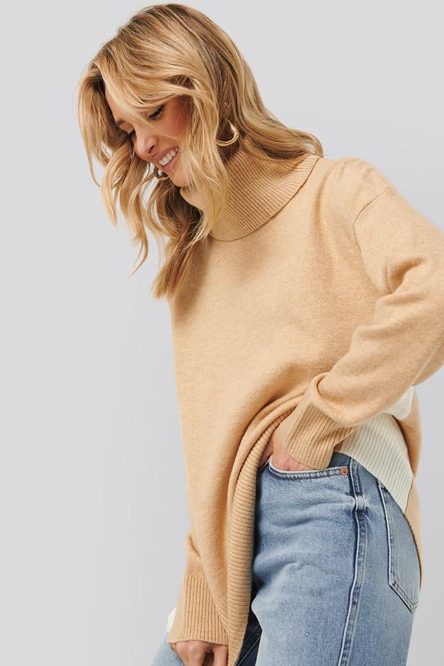 Blocked Sweater Pastel Brown