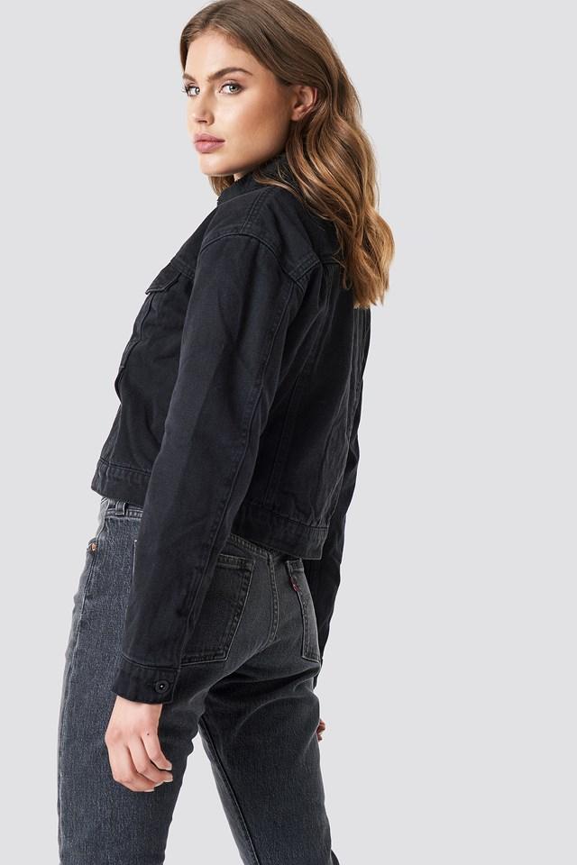 Borg Jacket Black Denim