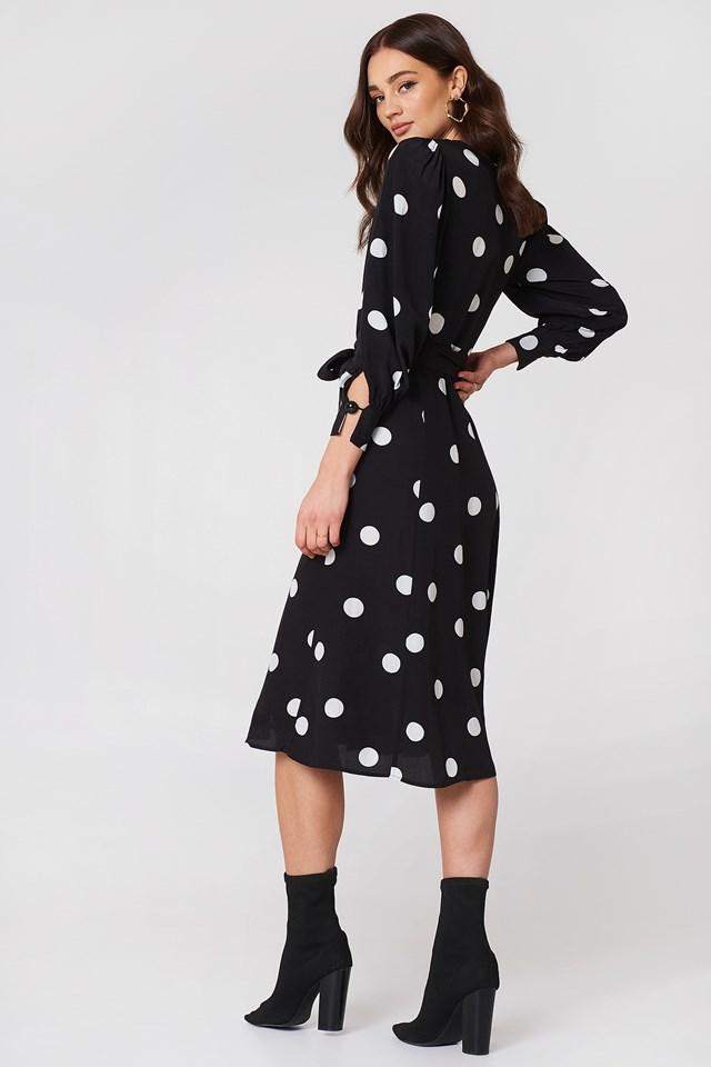 Bow Polka-Dot Dress Black