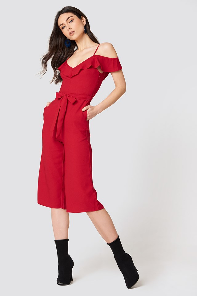 Bow Ruffled Jumpsuit Red