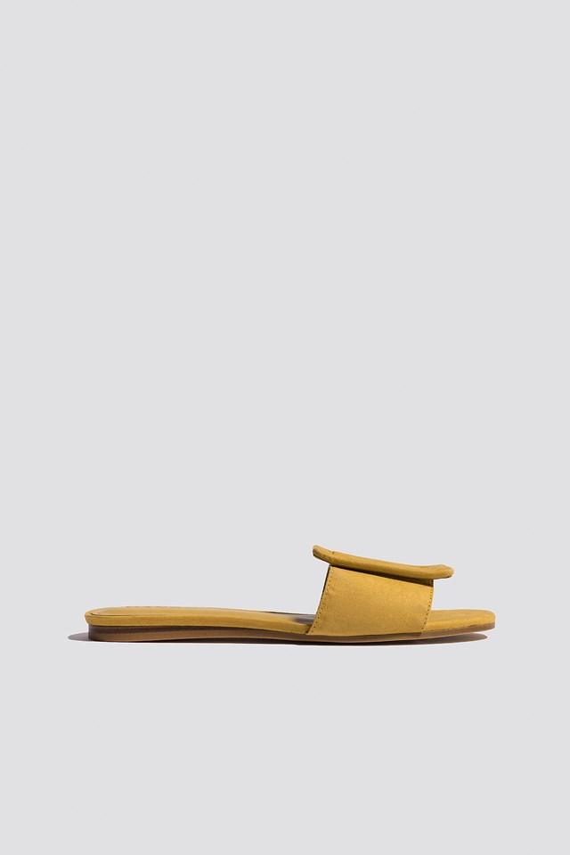 Buckle Flat Sandals Medium Yellow