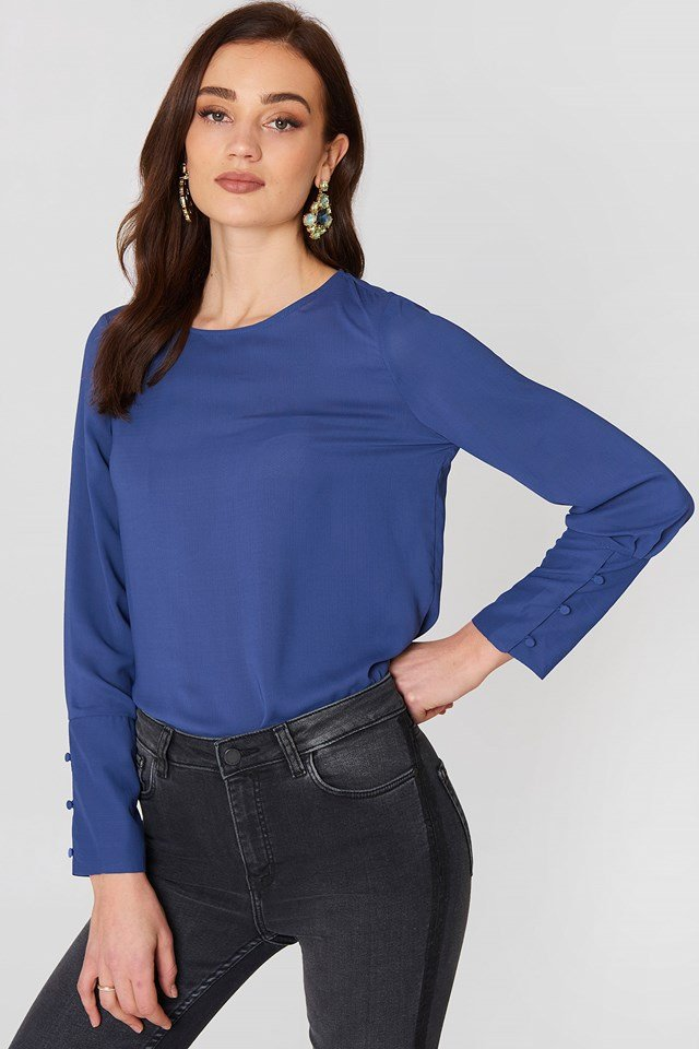 Buttoned Sleeves Blouse Medium Blue