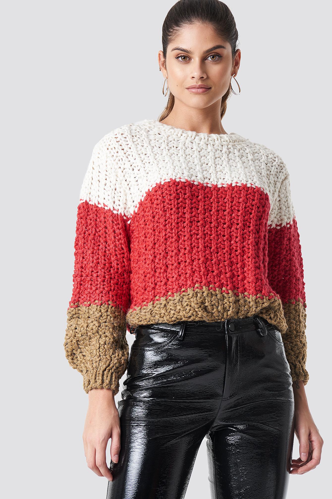 mango -  Cabin Sweater - Red,Multicolor