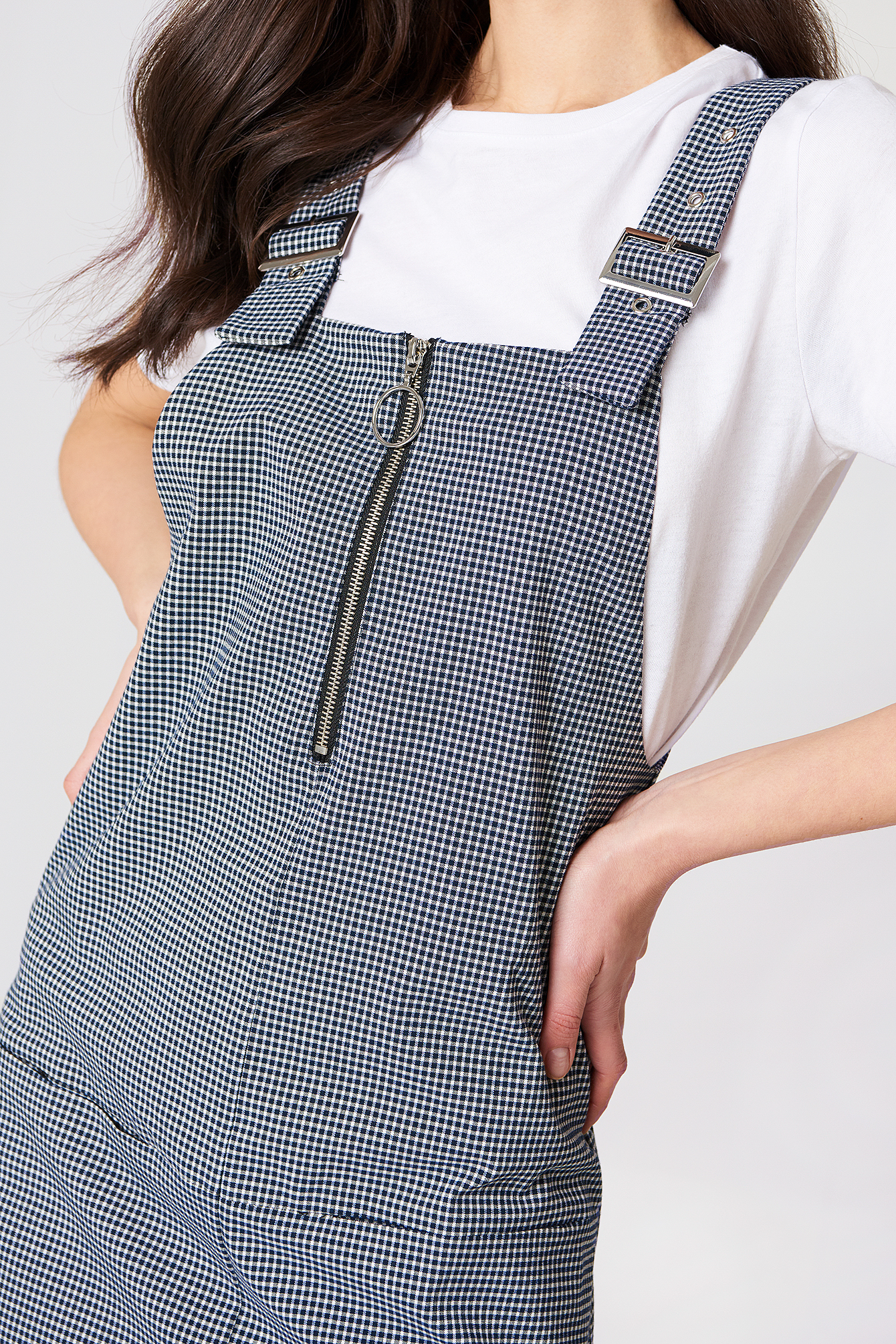 Checkered Pinafore Dress NA-KD.COM
