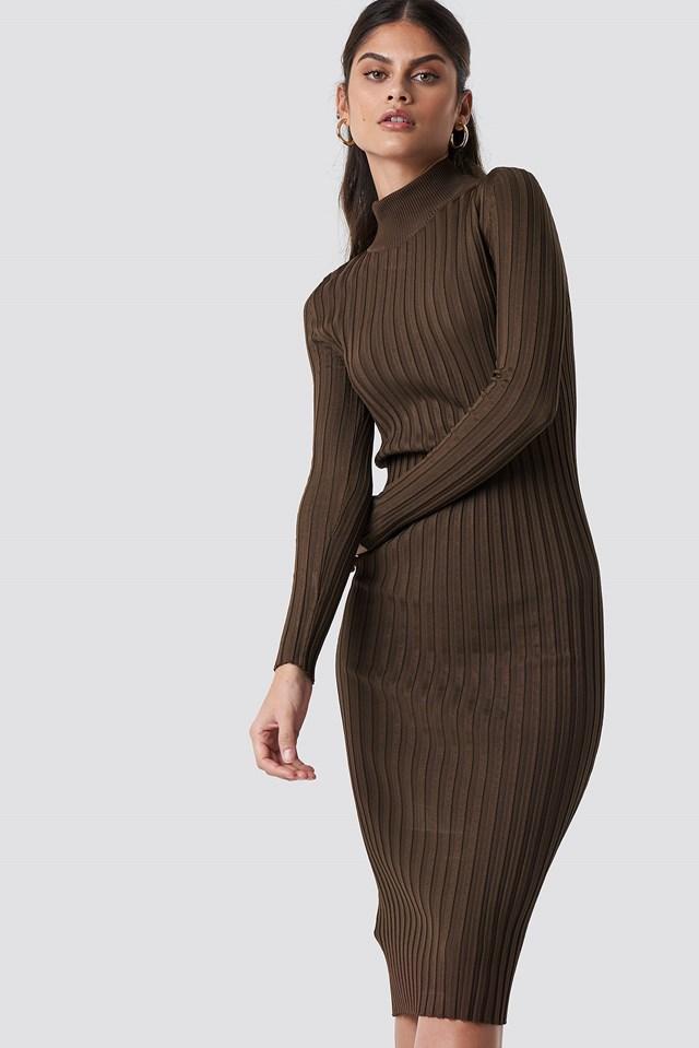 Choco Midi Dress Brown