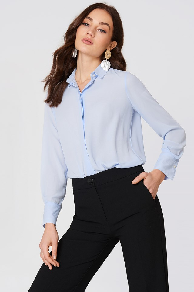 Concealed Button Shirt Lt Pastel Blue
