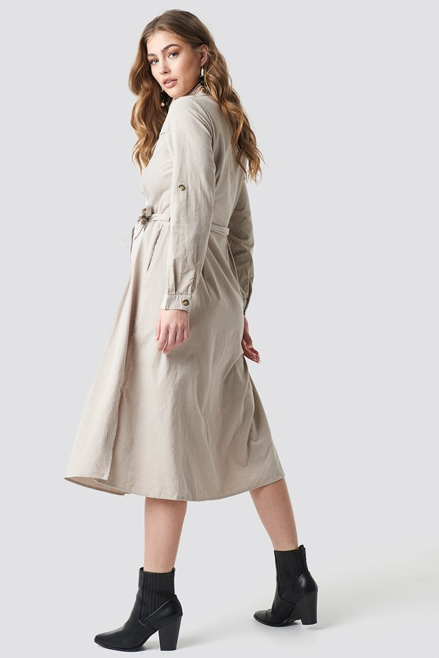 Cow Cord Midi Dress Cream